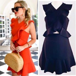 BCBGMAXAZRIA Black Careen Ruffle Cut Out Dress New